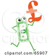 Royalty Free RF Clipart Illustration Of A Banknote Character Carrying A Pound Symbol