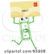 Royalty Free RF Clipart Illustration Of A Banknote Character Carrying An Email Envelope