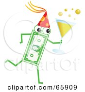 Royalty Free RF Clipart Illustration Of A Banknote Character Carrying Champagne At A Party