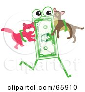 Royalty Free RF Clipart Illustration Of A Banknote Character Carrying A Cat And Dog