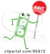 Royalty Free RF Clipart Illustration Of A Banknote Character Holding A Red Exit Sign by Prawny