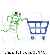 Royalty Free RF Clipart Illustration Of A Banknote Character Pushing A Shopping Cart by Prawny