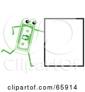 Royalty Free RF Clipart Illustration Of A Banknote Character Pushing A Sign by Prawny