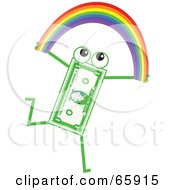 Royalty Free RF Clipart Illustration Of A Banknote Character Carrying A Rainbow