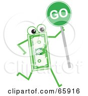 Royalty Free RF Clipart Illustration Of A Banknote Character Holding A Go Sign by Prawny