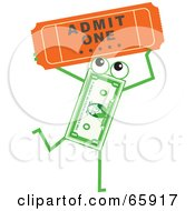 Royalty Free RF Clipart Illustration Of A Banknote Character Carrying A Ticket