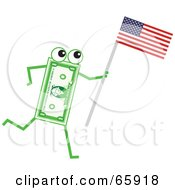 Royalty Free RF Clipart Illustration Of A Banknote Character Carrying An American Flag by Prawny