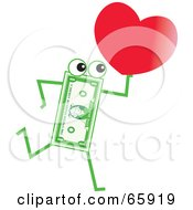 Royalty Free RF Clipart Illustration Of A Banknote Character Carrying A Heart by Prawny