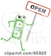Royalty Free RF Clipart Illustration Of A Banknote Character Holding An Open Sign by Prawny