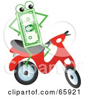 Royalty Free RF Clipart Illustration Of A Banknote Character Riding A Scooter by Prawny