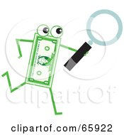 Royalty Free RF Clipart Illustration Of A Banknote Character Carrying A Magnifying Glass