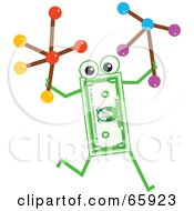 Royalty Free RF Clipart Illustration Of A Banknote Character Carrying Molecules