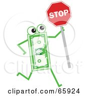 Royalty Free RF Clipart Illustration Of A Banknote Character Holding A Stop Sign by Prawny