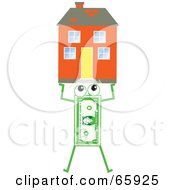 Royalty Free RF Clipart Illustration Of A Banknote Character Carrying A House