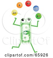 Royalty Free RF Clipart Illustration Of A Banknote Character Juggling Lottery Balls