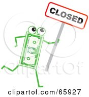 Royalty Free RF Clipart Illustration Of A Banknote Character Holding A Closed Sign