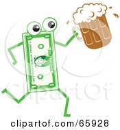 Royalty Free RF Clipart Illustration Of A Banknote Character Carrying A Beer