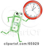 Royalty Free RF Clipart Illustration Of A Banknote Character Carrying A Wall Clock by Prawny