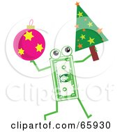 Royalty Free RF Clipart Illustration Of A Banknote Character Carrying A Christmas Tree And Bauble