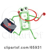 Royalty Free RF Clipart Illustration Of A Banknote Character Doctor by Prawny