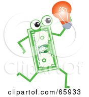 Royalty Free RF Clipart Illustration Of A Banknote Character Carrying A Light Bulb