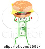 Royalty Free RF Clipart Illustration Of A Banknote Character Carrying A Cheeseburger