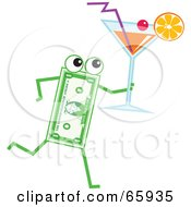 Royalty Free RF Clipart Illustration Of A Banknote Character Carrying A Cocktail