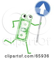 Royalty Free RF Clipart Illustration Of A Banknote Character Holding A Blue Arrow Sign