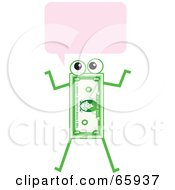 Royalty Free RF Clipart Illustration Of A Banknote Character With A Text Balloon by Prawny