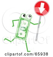 Royalty Free RF Clipart Illustration Of A Banknote Character Holding A Red Arrow Sign