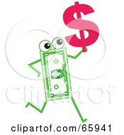 Royalty Free RF Clipart Illustration Of A Banknote Character Carrying A Dollar Symbol by Prawny