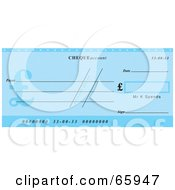 Royalty Free RF Clipart Illustration Of A Blue Cheque With Dollar Symbols by Prawny