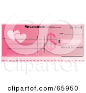 Royalty Free RF Clipart Illustration Of A Pink Heart Cheque With Dollar Symbols