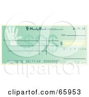 Royalty Free RF Clipart Illustration Of A Green Hand Cheque With Dollar Symbols by Prawny