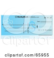 Royalty Free RF Clipart Illustration Of A Blue Flower And Dollar Symbol Cheque With Dollar Symbols
