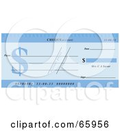 Royalty Free RF Clipart Illustration Of A Blue Dollar Symbol Cheque With Dollar Symbols by Prawny