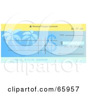 Royalty Free RF Clipart Illustration Of A Blue Palm Tree Cheque With Dollar Symbols by Prawny