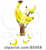 Royalty Free RF Clipart Illustration Of A Tree With A Giant Banana And Fruits On The Ground by Prawny