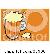 Royalty Free RF Clipart Illustration Of A Pint Of Beer On An Orange Background