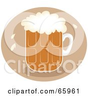 Royalty Free RF Clipart Illustration Of A Pint Of Frothy Beer Over A Brown Circle