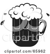 Royalty Free RF Clipart Illustration Of A Black And White Pint Of Frothy Beer
