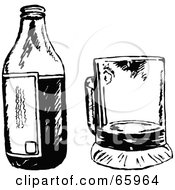 Royalty Free RF Clipart Illustration Of A Beer Bottle By A Cup Black And White