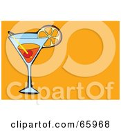 Royalty Free RF Clipart Illustration Of A Cocktail Beverage Garnished With Fruit On An Orange Background