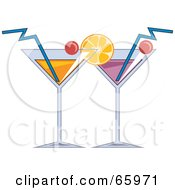 Royalty Free RF Clipart Illustration Of Two Cocktail Beverages Garnished With Fruit by Prawny