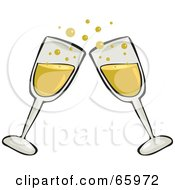 Pair Of Toasting Clear Glass Champagne Glasses