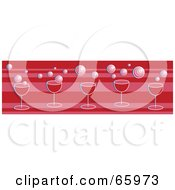 Royalty Free RF Clipart Illustration Of A Red Border Of Champagne Glasses And Bubbles