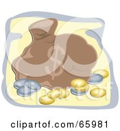 Royalty Free RF Clipart Illustration Of A Brown Sack Of Money With Gold And Silver Coins
