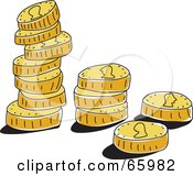 Royalty Free RF Clipart Illustration Of Small Stacks Of Golden Coins