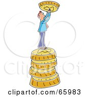 Royalty Free RF Clipart Illustration Of A Tiny Man On A Stack Of Coins Holding Up A Coin