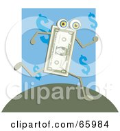 Royalty Free RF Clipart Illustration Of A Running Dollar Man On A Hill by Prawny